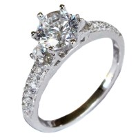 Solitaire Diamond Promise Ring - White Cubic Zirconia ...