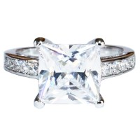 Princess Cut Diamond Promise Ring - White Cubic Zirconia ...