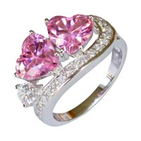 Double Pink Hearts Promise Ring - Pink Cubic Zirconia ...