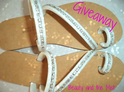 white sandals with crystals giveaway