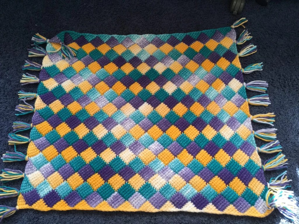 First Try at Entrelac Crochet--It's Awesome!!