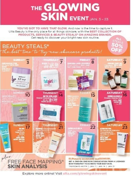 Save at ULTA Beauty on January 14th with The Glowing Skin Event