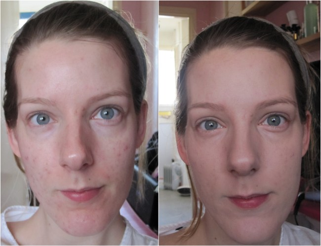 Liz Earle Perfect Finish Powder Foundation - before and after.