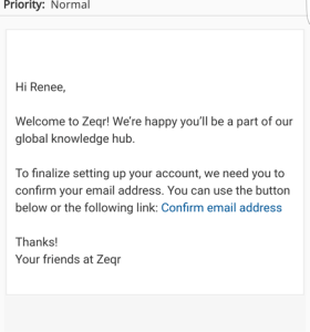 zeqr confirmation email screen