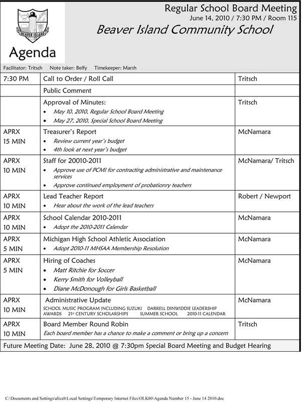 Draft Meeting Agenda - Fiveoutsiders