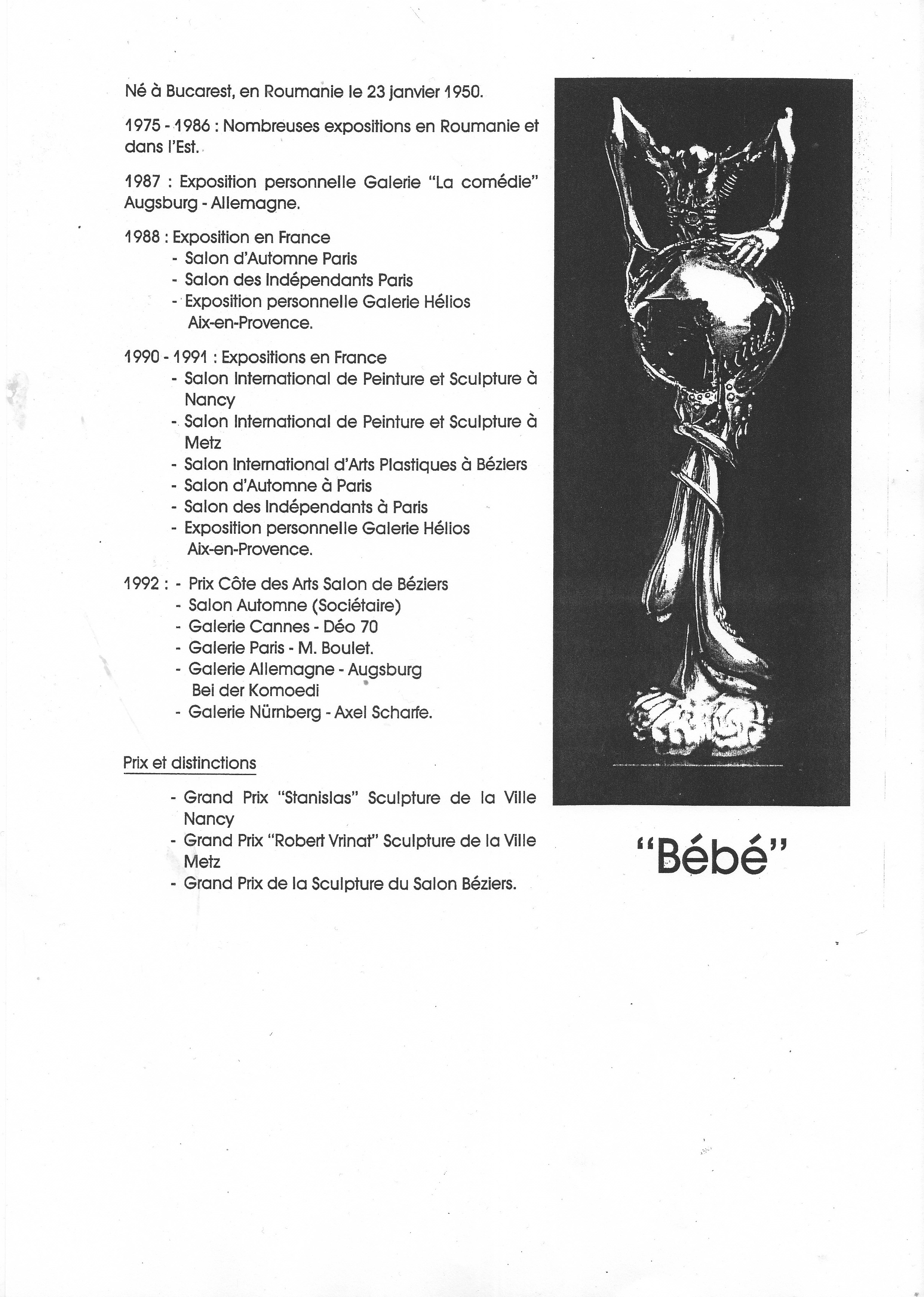 Cv Of Bébé Surrealist And Symbolic Bronze Sculptures