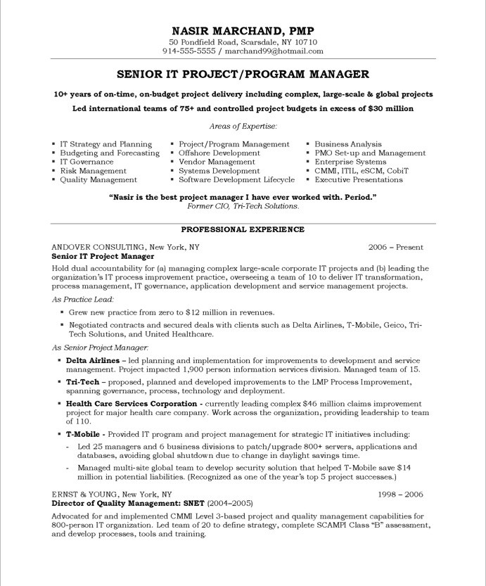 Project Manager Resume Example Samples Project Manager Resume Sample