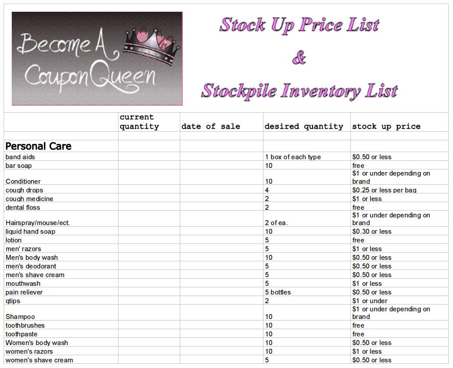 Stock Up Price List and Stockpile Inventory Sheet - Become A Coupon