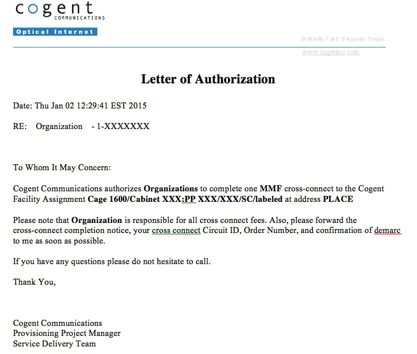 Letter Of Authorization (LOA) Examples Providers - letter authorizing