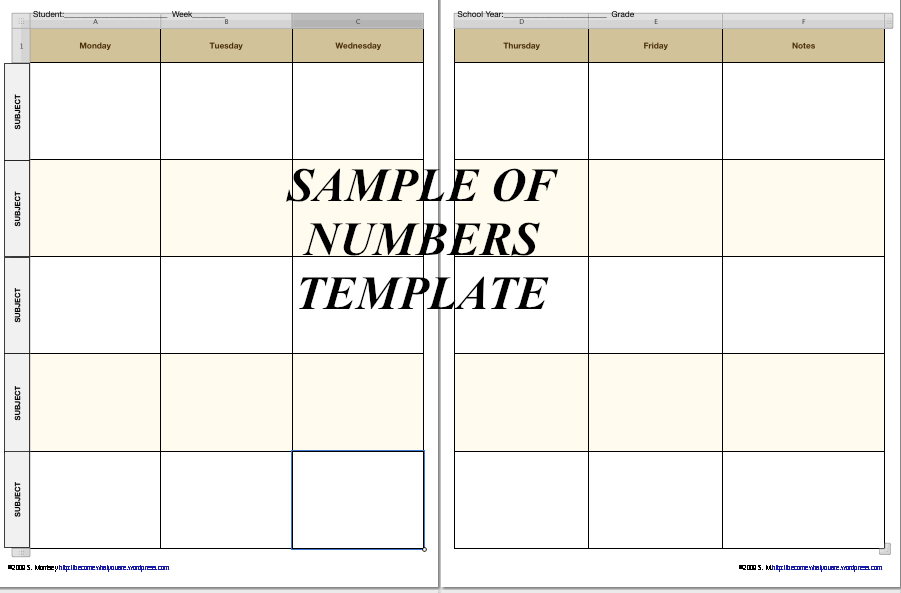 Free Homeschool Planner Pages in iWork 09 Formats (***NOW ALSO - microsoft weekly planner