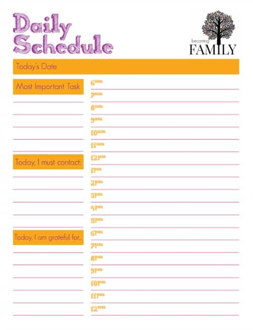 Daily Schedule Printable - Becoming Family