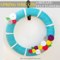 Aqua Striped Spring Wreath with Felt Flowers