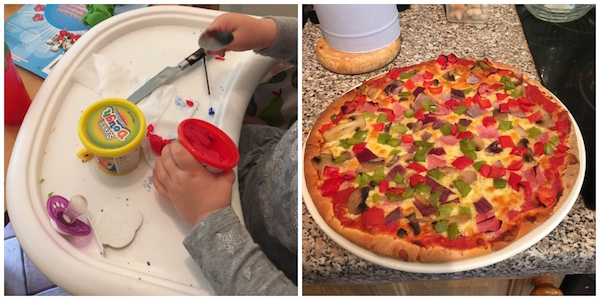Homemade pizza and play doh