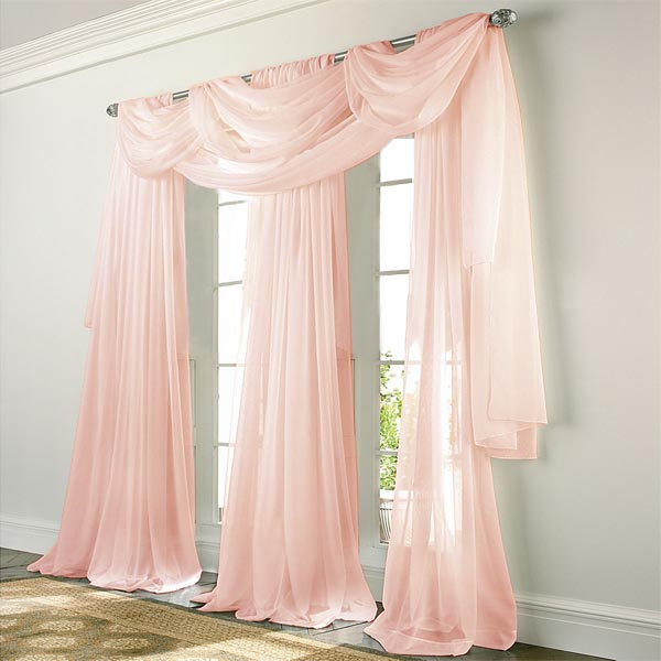 Beach House Window Treatments Elegance Voile Pink Sheer Curtain: Bedbathhome.com