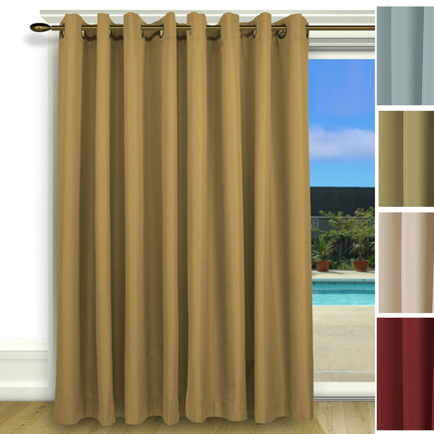 Curtain Insulation Fabric Elegance Insulated Thermal Grommet Curtain Patio Panel