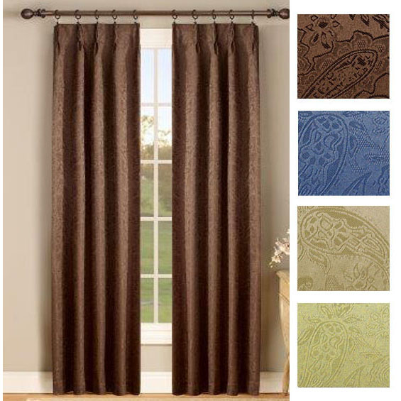 Beach House Window Treatments Gabrielle Thermal Insulated Foam Back Pinch Pleat Pair