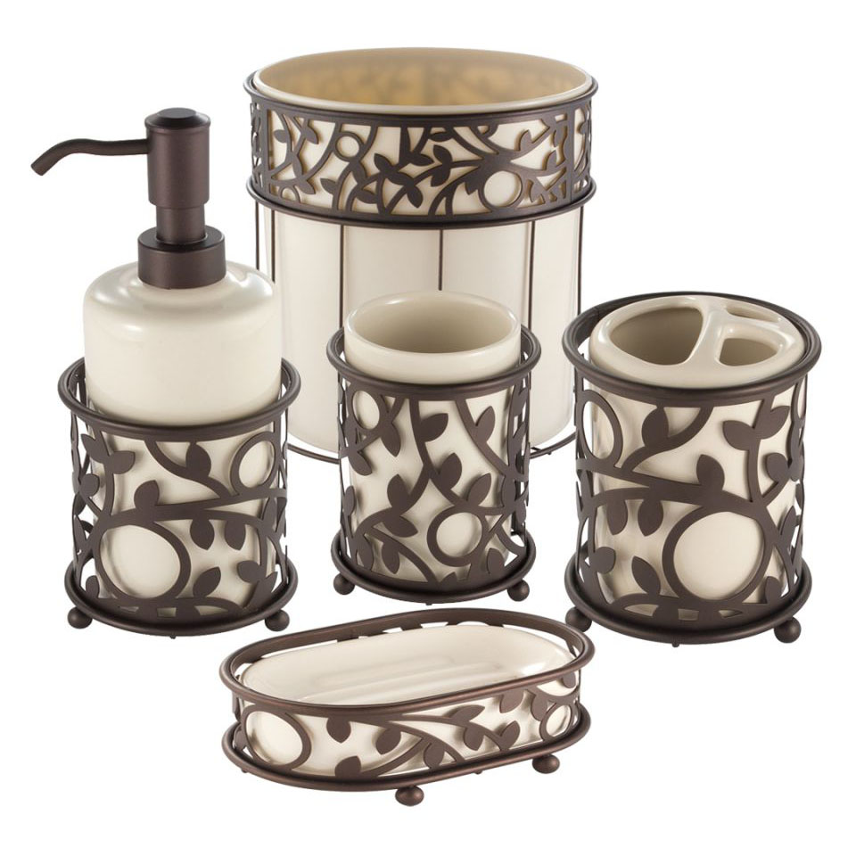 Bathroom Accessories Interdesign Vine Vanilla And Bronze Bath Accessories