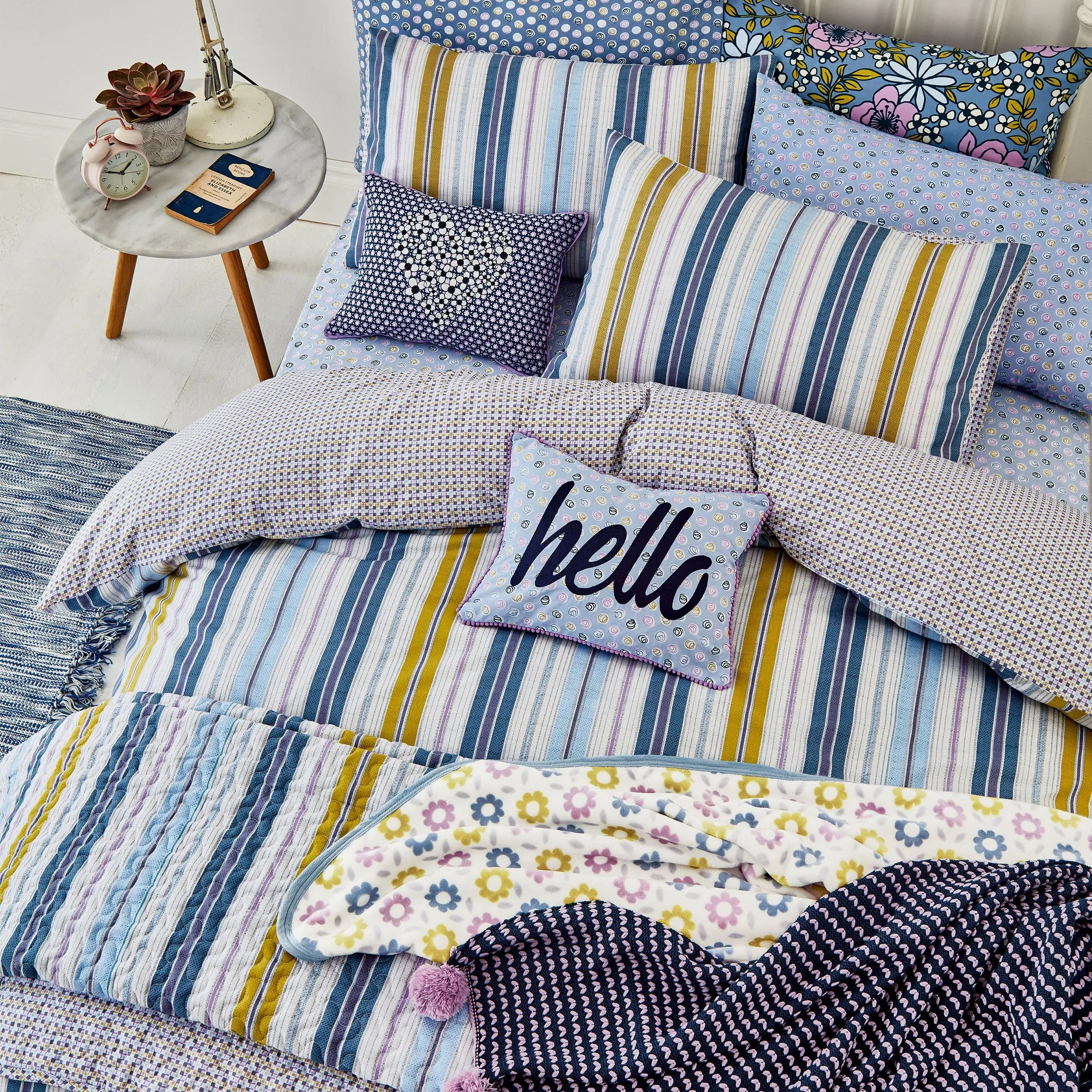 Curtains Cushion Throw Helena Springfield Blue Striped Duvet Cover Set Melody