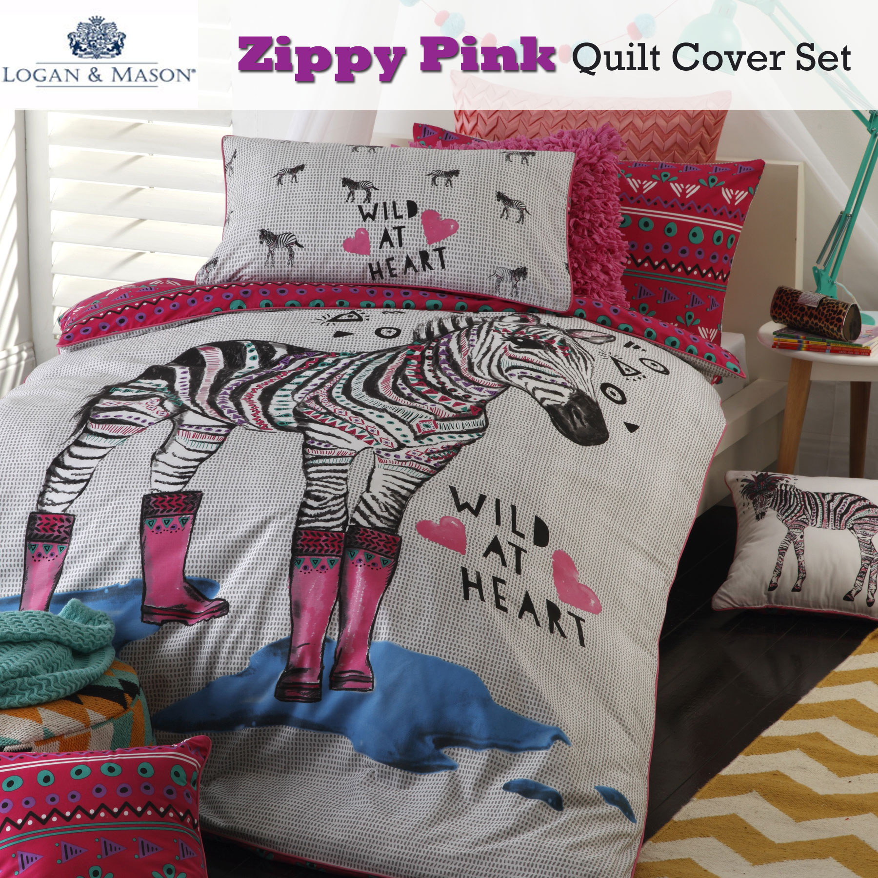 Single Doona Cover Details About Zippy Zebra Heart Pink Girls Quilt Cover Set By Logan Mason Single Double