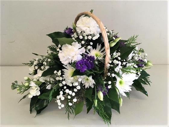 Aconitum Flower Price Funeral Basket - Purple, Lilac & White