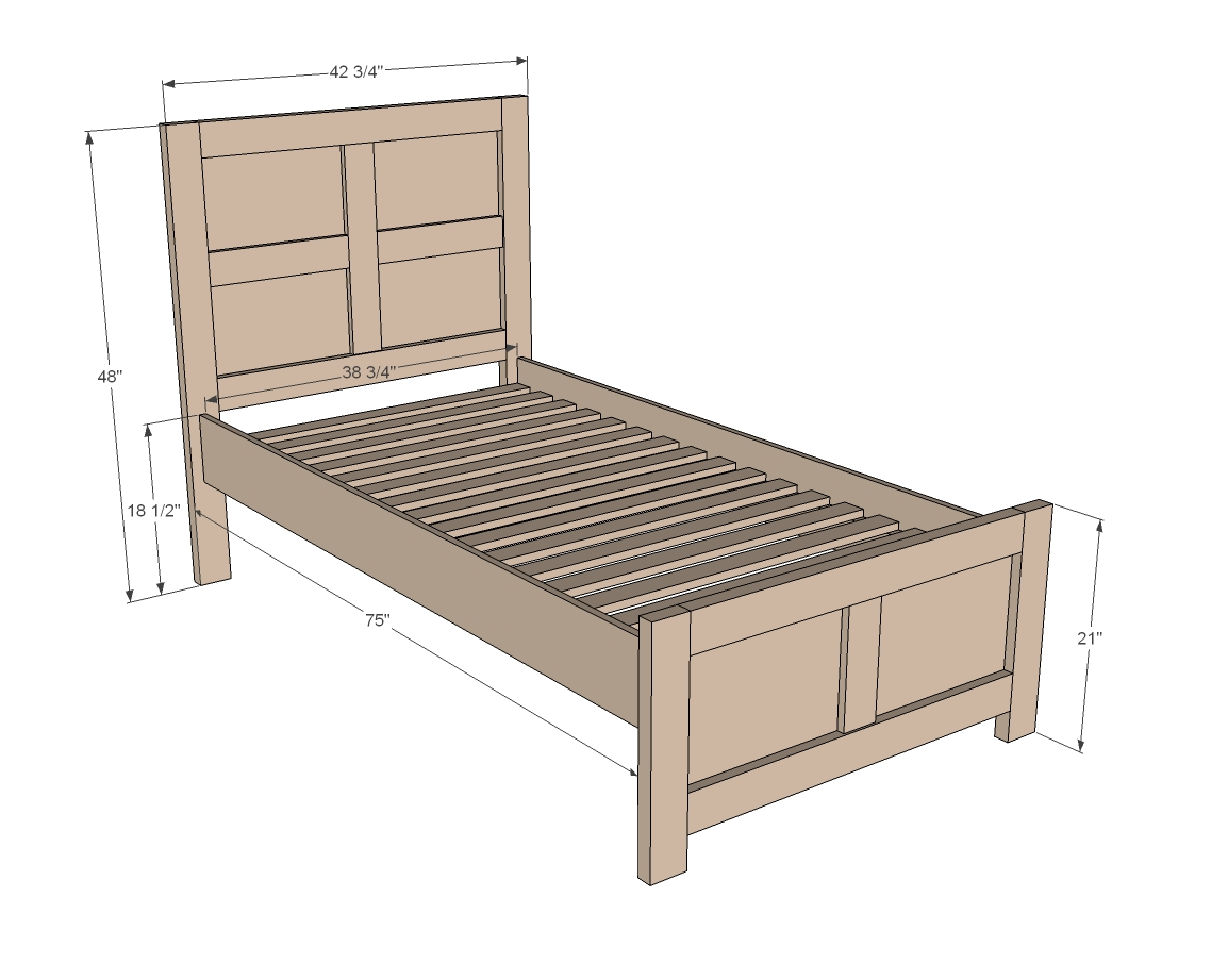 Single Bed Measurements Twin Bed Frame Plans Bed Plans Diy And Blueprints
