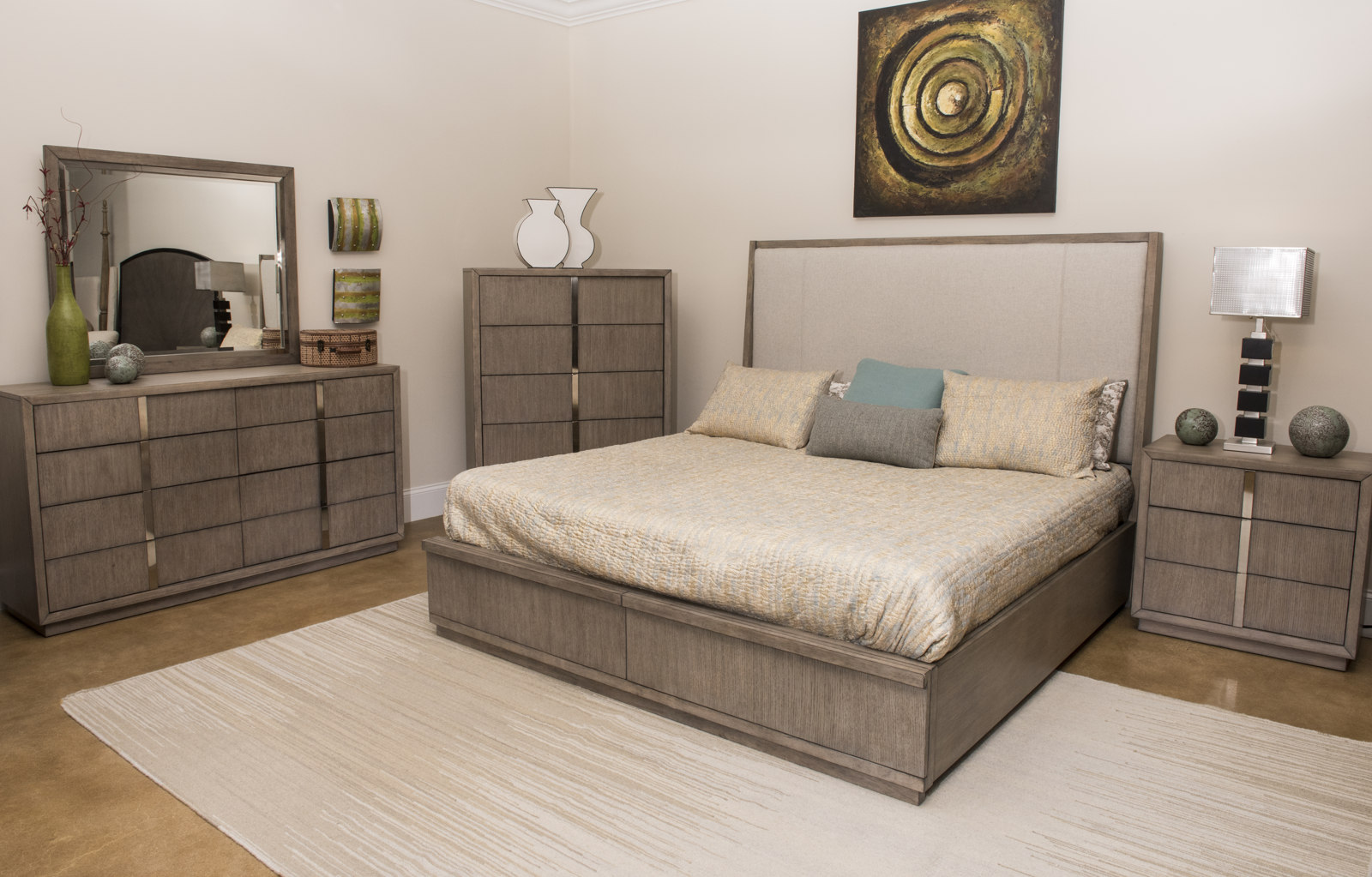 Bed Bases Melbourne Klaussner Melbourne 4 Piece Upholstered Panel Bedroom Set In Soft Gray