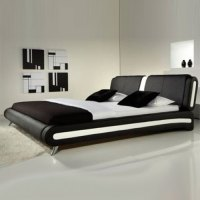 Naples Modern Black And White Leather Bed - Luxury Leather ...