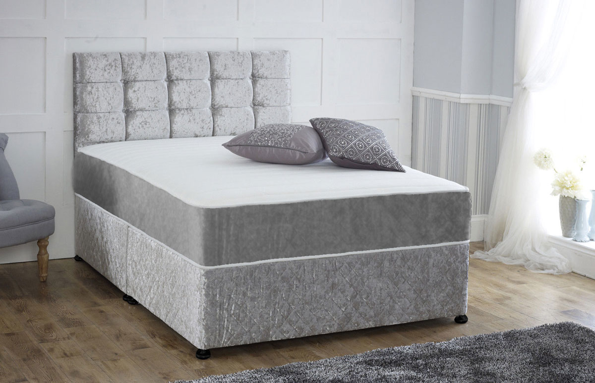Single Pocket Sprung Memory Foam Mattress Single Pocket Sprung Memory Foam Crushed Velvet Divan Bed 1q