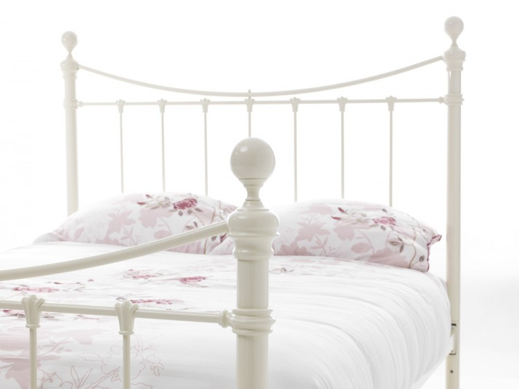 Divan Beds Serene Ethan Ivory Gloss 4ft Small Double Metal Bed Frame