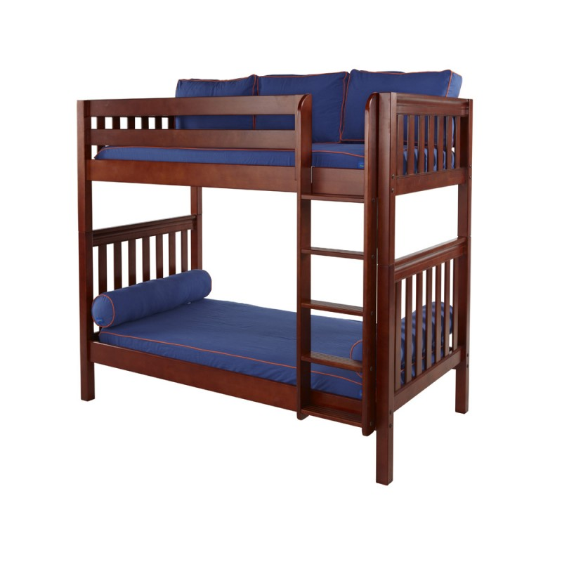 Tall Twin Over Twin Bunk Bed With Ladder Solid Maple