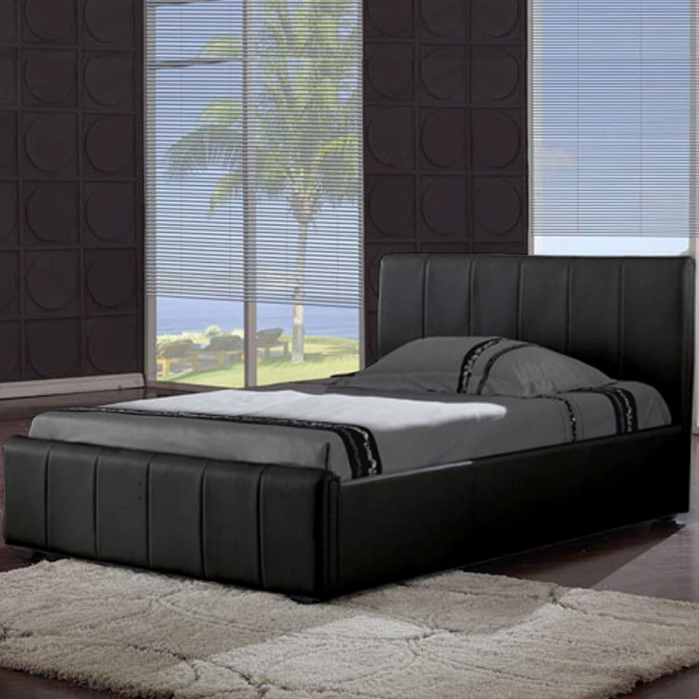 Leather Bed Harmony Pisa 5ft King Size Black Faux Leather Bed