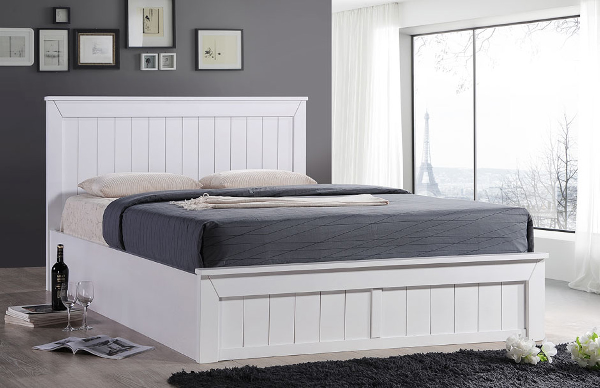 White Double Bed With Mattress Sweet Dreams Chandler 4ft Small Double Wooden Ottoman Bed