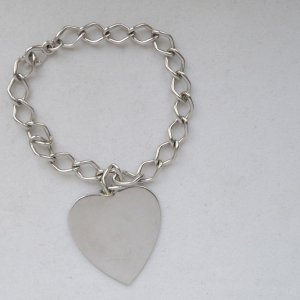 sterling silver, heart tag, hearts, heart charm bracelets, charm bracelets, heart charms, vintage charms