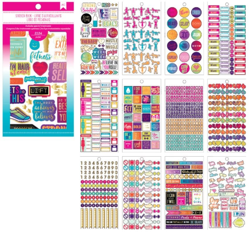 Fitness Planner Sticker Book with Foil Accents Bee Happy Crafts