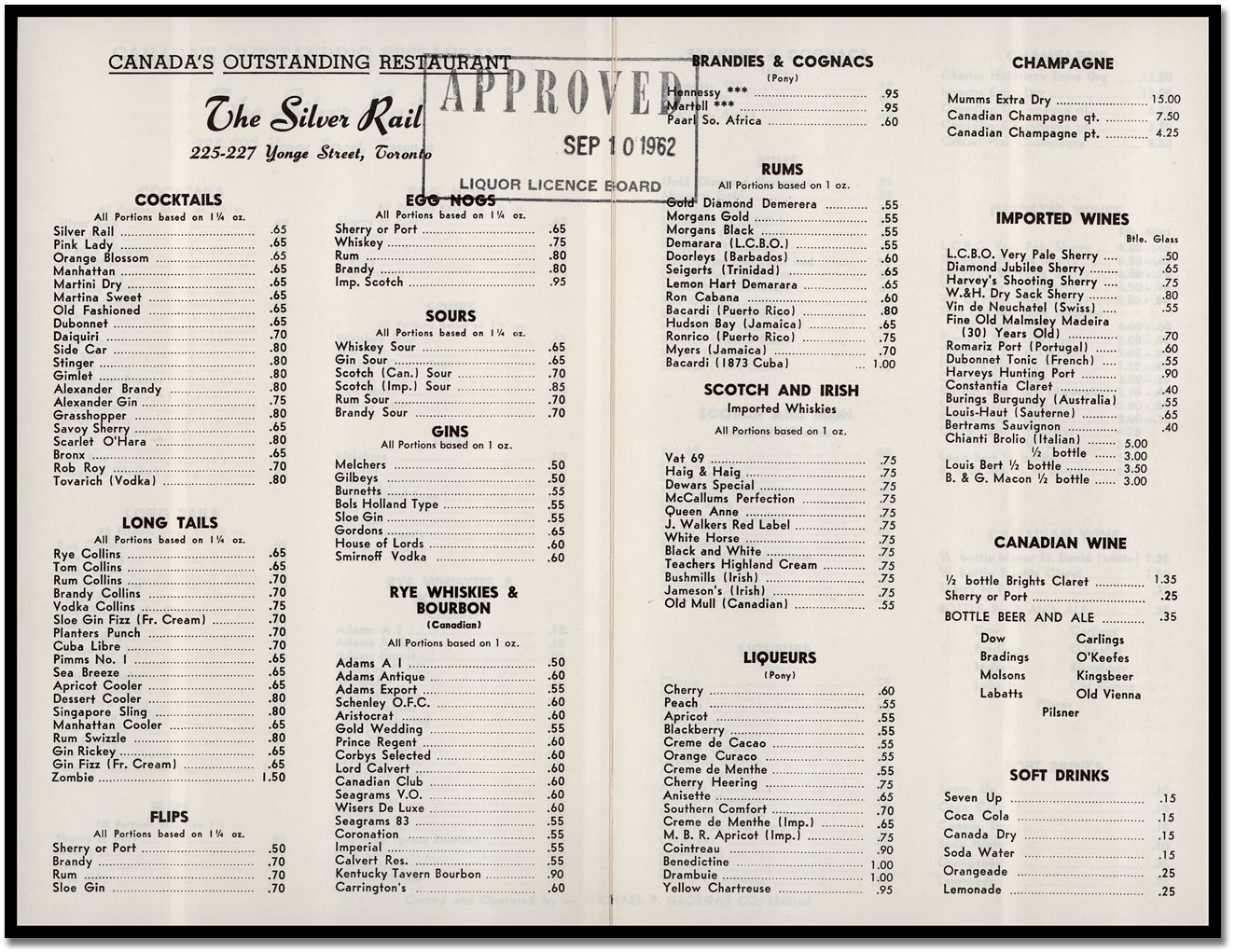 Cocktail Liste A Toronto Cocktail Bar S Offerings In 1962 Beer Et Seq