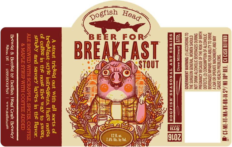 Dogfish Head Beer For Breakfast Stout label