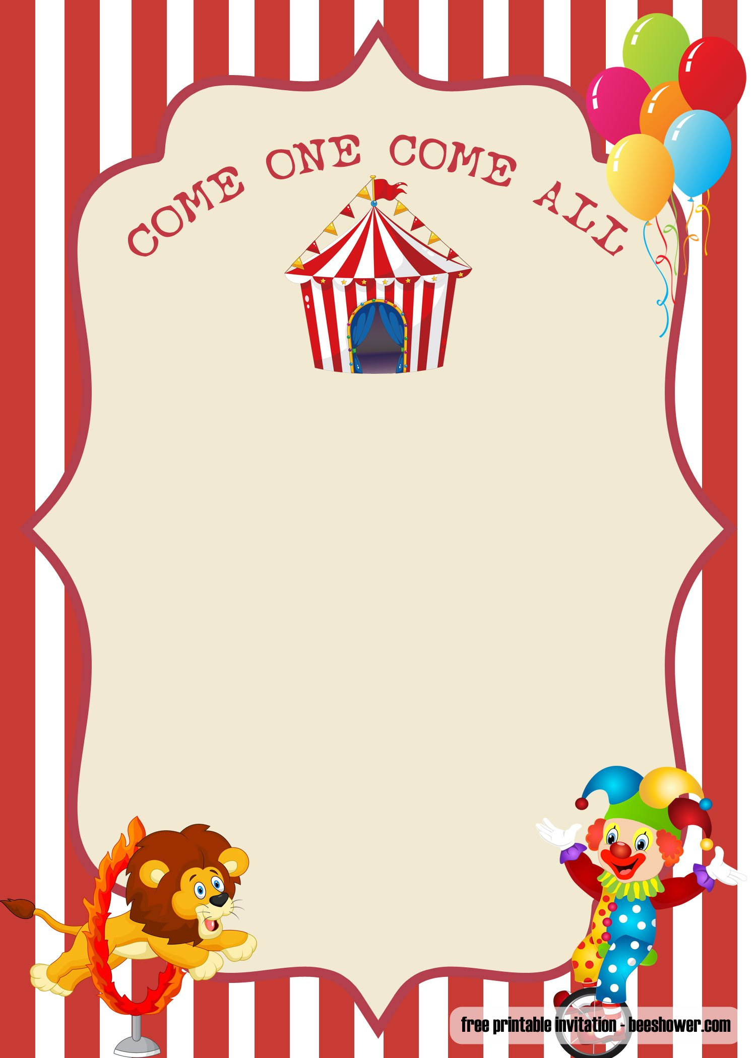 Invitation Regular Font Free Printable Circus Baby Shower Invitations | Free