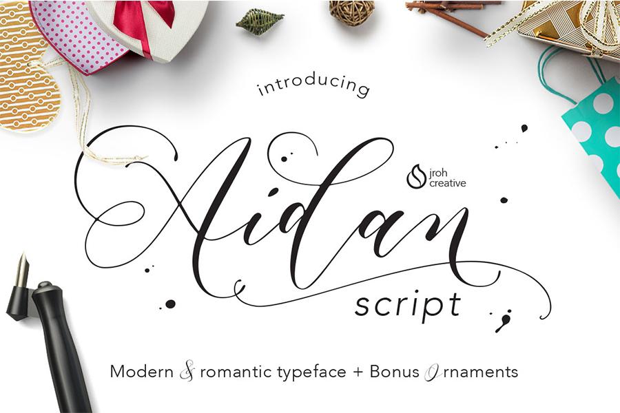 Aidan Romantic Script - Befonts