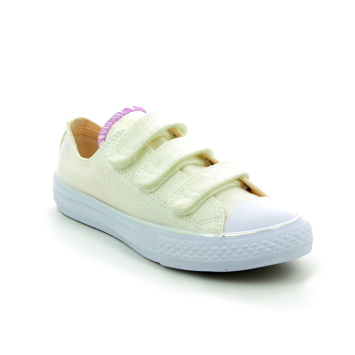 Baby White Converse Pram Shoes 656041c 102 Chuck Taylor All Star 3v Ox Velcro