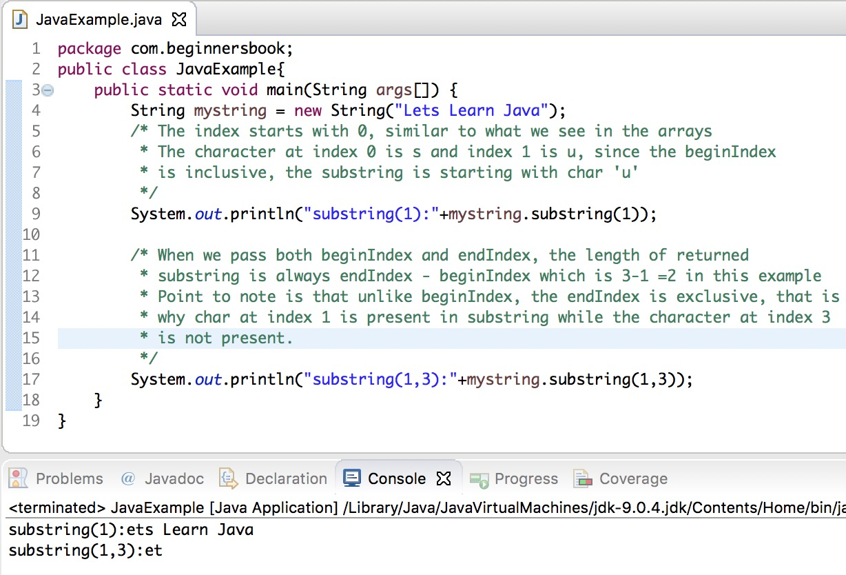 Out Java From Java String Substring Method Example