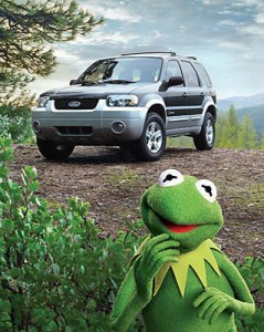 Roadkill? Kermit wondering what the heck he's doing in front of an SUV.