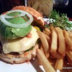 The avocado rub burger at The Local. It's this or the three-kuai Wednesday Buffalo wings.