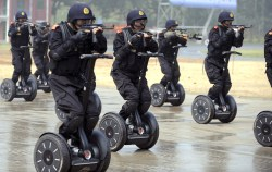 Chinese Armed Anti-Terrorism Police In Preparations For The Olympics