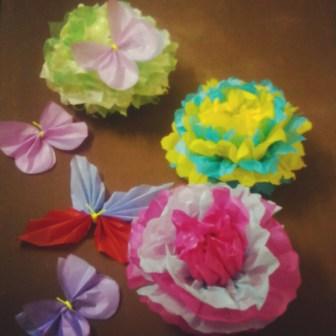 Giant tissue paper flowerspom poms being artsy image mightylinksfo