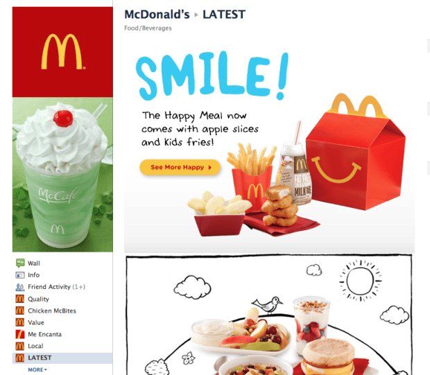 McDonalds Facebook Page