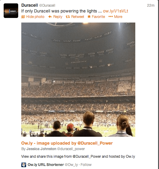 Duracell's Super Bowl Black Out Tweet