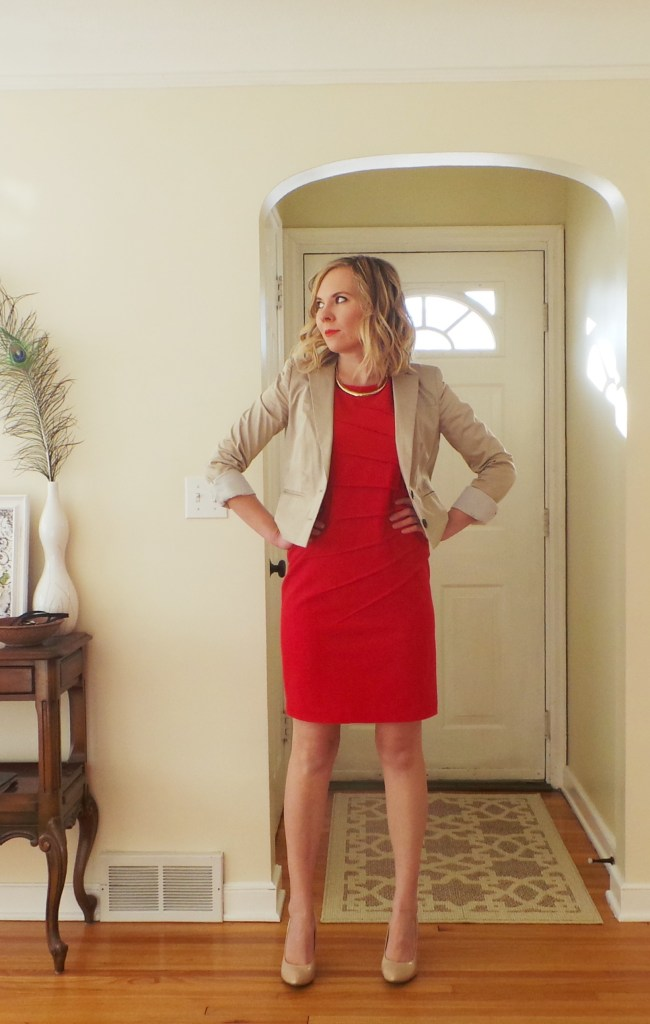 Red-dress-beige-blazer