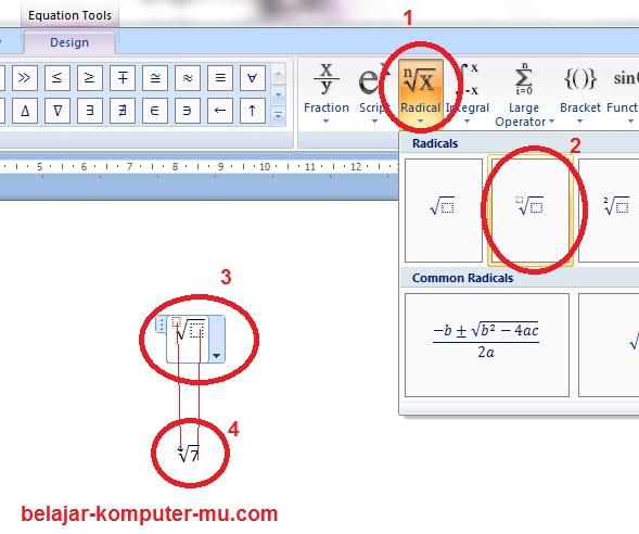 menulis fungsi akar pangkat microsoft word 2007