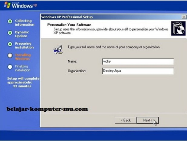 gambar jendela setup meminta nama dan organisasi