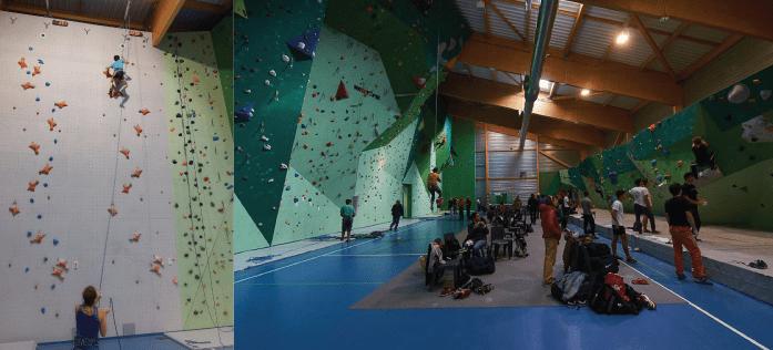 salle d'escalade Belcaire : une salle exceptionnelle avec les 3 disciplines de l'escalade : vitesse, difficulté, et bloc
